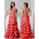 Beautiful Mermaid Sweetheart Sweep Train Satin Prom Evening Dress