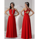 Elegant Sheath V-Neck Long Red Chiffon Prom Evening Dress for Women