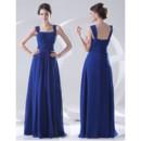 Designer Sheath Square Long Blue Chiffon Prom Evening Dress for Women