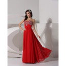 Elegant A-Line Sweetheart Red Long Chiffon Prom Evening Dress