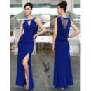 Cheap Classy Sexy Sheath/ Column Chiffon Split Blue Long Formal Evening Wear Dress