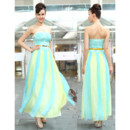 Cheap Classy Colorful Sheath Strapless Chiffon Ankle Length Prom Evening Dress