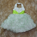 Custom Ball Gown Halter Tea Length Ruffle Little Girl Party Dress