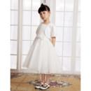 Little Girls Lovely A-Line Knee Length Satin First Communion/ Flower Girl Dress