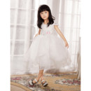 A-Line Cap Sleeves Short Organza Flower Girl Party Dress for Wedding