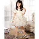 Cute Short Sleeves Knee Length Ruffle Flower Girl Party Dress for Wedding