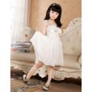 Pretty One Shoulder Knee Length Chiffon Flower Girl Party Dress for Wedding