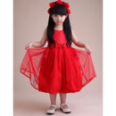 A-Line Knee Length Satin Organza Flower Girl Party Dress for Wedding
