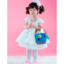 A-Line Cap Sleeves Knee Length Satin Flower Girl Party Dress for Wedding