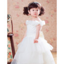 Adorable Ball Gown Tea Length Satin Flower Girl Party Dress for Wedding