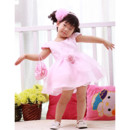 Ball Gown Cap Sleeves Short Flower Girl Party Dress for Wedding