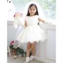Pretty A-Line Cap Sleeves Short Satin Organza Flower Girl Dress for Wedding