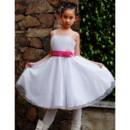 Pretty A-Line Straps Knee Length Satin Organza Flower Girl Dress for Wedding