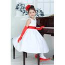 Lovley Little Girls A-Line Round Tea Length Satin Flower Girl Dress