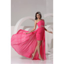 Elegant Sheath One Shoulder Short/ Mini Chiffon Prom Evening Dress for Women