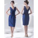 Designer Column V-Neck Knee Length Satin Homecoming Party Dress for Girls