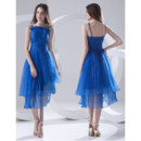 Classy A-Line Spaghetti Straps Short High Low Blue Homecoming Dress