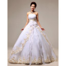 Gorgeous Organza Ball Gown Strapless Floor Length Wedding Dress for Spring