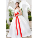 Simple Modern Ball Gown Strapless Floor Length Satin Wedding Dress with Sashes