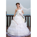 Cheap Luxury Ball Gown Strapless Floor Length Tiered Skirt Wedding Dress for Spring