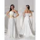 Affordable Sexy A-Line Strapless Court Train Satin Wedding Dress