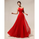Affordable Elegant One Shoulder Chiffon Red Long Bridesmaid Dress for Wedding