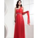 Affordable One Shoulder Chiffon Long Sheath Prom Evening Dress for Women
