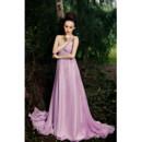 Elegant One Shoulder High Waist Chiffon Empire Floor Length Evening Dress for Women