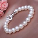 Beautiful Elegant White 7.5 - 8.5mm Freshwater Off-Round Pearl Bracelet