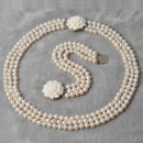 Affordable White Off-Round Pearl Bracelet Necklace Earrings Pendant and Ring Set
