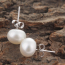 Beautiful White/ Pink/ Purple 9 - 10mm Freshwater Off-Round Pearl Earring Set