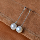 Amazing White 8-9mm Round Freshwater Natural Pearl Earring Set