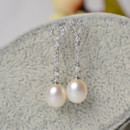 Inexpensive Beautiful White Drop 7-8mm Freshwater Natural Pearl Earring Set