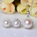 Women Elegant White Off-Round Natural Pearl Earring and Pendant Set