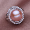 Affordable Pink/ White/ Purple 11 - 12mm Freshwater Off-Round Pearl Ring