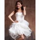 Affordable Sexy Modern Bubble Skirt Strapless Satin Organza Short Reception Wedding Dress
