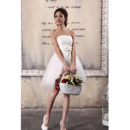 Cheap Simple Modern Ruched Tulle Strapless Lace-up Short Beach Wedding Dress