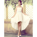 Cheap Stylish Designer High-Low Pleated Chiffon Strapless Lace-up Beach Wedding Dress with Beaded