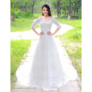 Classy Modest Lace Sleeves Court Train A-Line V-Neck Wedding Dress
