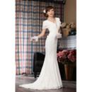 Elegant Lace Mermaid Short Sleeves V-Neck Sweep Train Wedding Dress