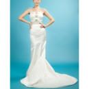 Inexpensive Custom Modern Sheath Spaghetti Straps Sweep Train Satin Wedding Dress