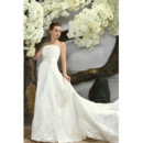 Inexpensive Classic Chapel Train Strapless Satin A-Line Wedding Dress