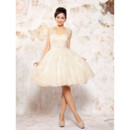 Women's Chic Straps A-Line Organza Short Beach Wedding Dress