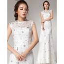 Affordable Romantic Lace Sheath Sequin Brush/ Sweep Train Wedding Dress