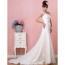 Stylish Elegant One Shoulder Lace A-Line Sweep Train Wedding Dress