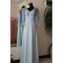 Custom Designer Lace Chiffon Long Mother of the Bride Dress with Sleeves for Wedding