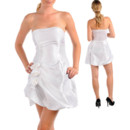 Girls Short Strapless Taffeta Little White Cocktail Homecoming/ Party Dress