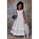 A-Line Round Tea Length Organza Applique Flower Girl/ First Communion Dress
