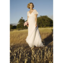 Affordable Empire V-Neck Short Sleeves Floor Length Pleat Bead Maternity Wedding Dress/ Custom Pleated Chiffon Bridal Gown