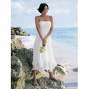 Classic Empire Waist Spaghetti Straps Tea Length Embroidery Ivory Chiffon Beach Wedding Dress